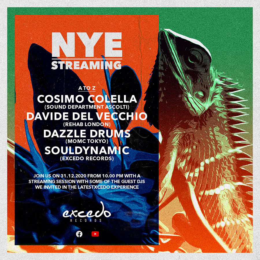 NYE Streaming live, from Italy to the world! Souldynamic, Cosimo Colella, Dazzle Drums, Davide Del Vecchio